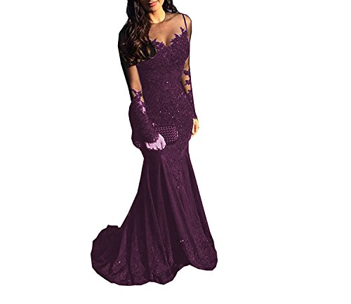 MJBridal Elegant Sheer Long Sleeve Black Mermaid Prom Dress Sequins ...