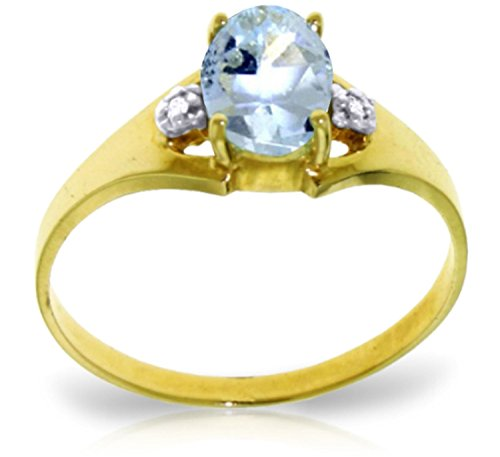 (Galaxy Gold 0.76 Carat 14k Solid Gold Ring with Genuine Diamonds and Natural Oval-shaped Aquamarine - Size 6.5)