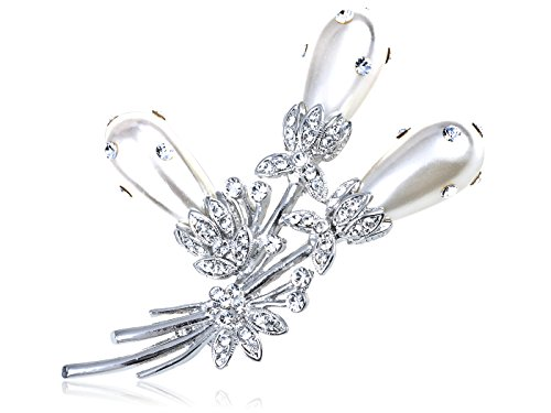 Alilang Swarovski Crystal Elements Faux Pearl Bouquet of Pond Reeds Fashion Pin Brooch