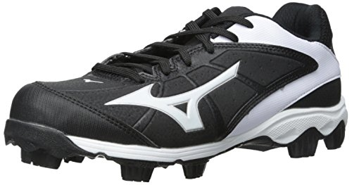 Mizuno Women's 9 Spike ADV Finch 6 Fast Pitch Molded Softball Cleat, Black/White, 9.5 M US