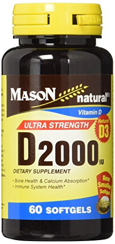 Mason Natural Vitamin Ultra Strength D3 2000 iu Softgels, 60-Count (Softgels 60 Count Bottle)