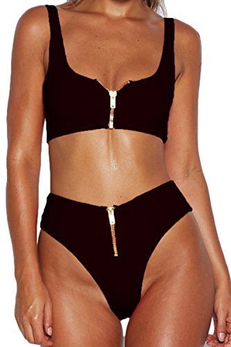 Meyeeka Women Zipper up Bottom Mid-Width Straps Sporty Crop Top Two Pieces Bikini Set S by Meyeeka (Image #6)