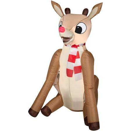 Airblown Rudolph The Red Nosed Reindeer Inflatable Lawn Christmas  Decoration 4u0027