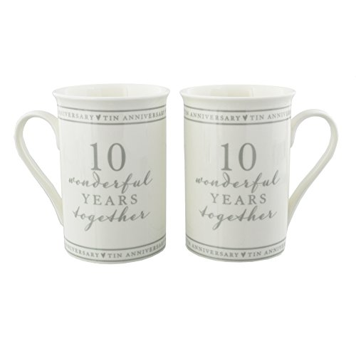 Oaktree Gifts Anniversary 10 Wonderful Years Togther Mug Set Gift