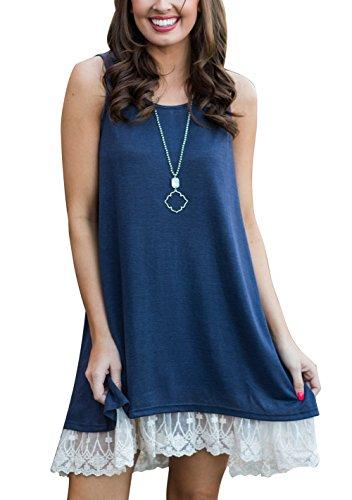 Women's Lace Tunic Top Sleeveless Sweatshirt Blouse A-Line Flowy Summer T-Shirt Dress Navy Blue XL