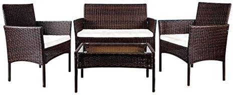 YOUKE Pezzi in Rattan mobili da Giardino Divano Set di tavoli e sedie da Giardino, Veranda – Brown