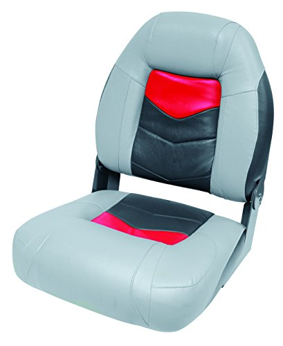 Angler Boat - Wise 3304-1881 Pro-Angler Folding Boat Seat, Marble Grey/Regal Red Charcoal