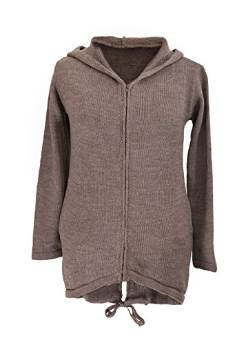 4sold (TM) – Cárdigan para mujer manga larga con capucha y bolsillos poncho, mujer, cardigan coffee, universal cardigan light brown