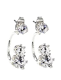 Neoglory Jewelry Silver Color CZ Cubic Zirconia Jacket Earrings for Sensitive Ears