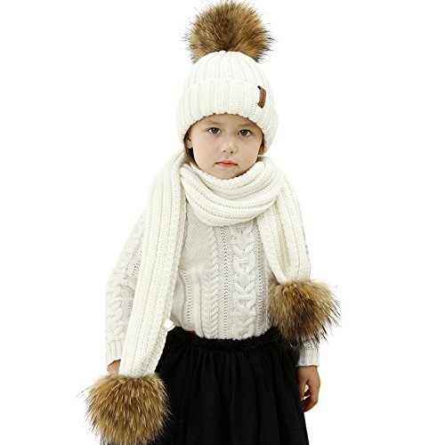 Kids Hat and Scarf Set Winter Knit Beanie Pom Pom Hat Unisex Baby Warm Chunky Thick Stretchy (Ages 2-14)