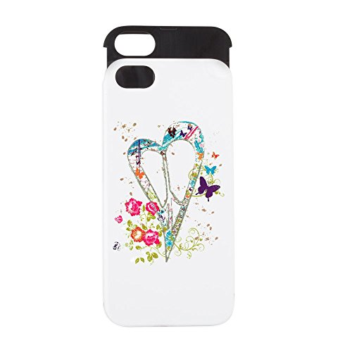iPhone 5 or 5S Wallet Case White and Black Flowered Butterfly Heart Peace Symbol