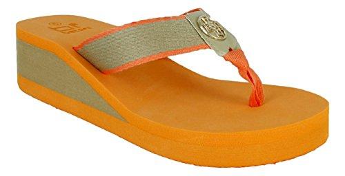 Evelyn 5 Dames Lichtgewicht Hakbeschermer Wipschakelaars Sandaal In Blauw En Oranje (oranje, 8,5)