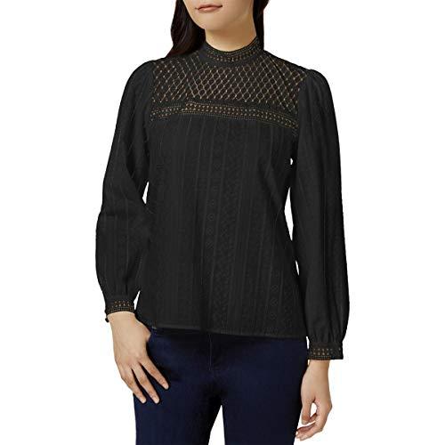 kensie Women's Embroidered Cotton Top, Black, S -
