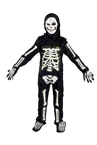 Skeleton Costume for Boys Kids Light up Halloween Size M (5-7) L (6-9)