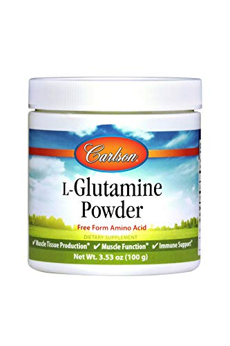 Carlson L-Glutamine Powder 3 g, Amino Acid Powder, 100 g Jar For Sale