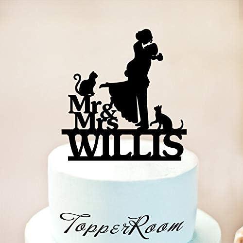 Adorno para tarta de boda con el nombre de «Mr and Mrs» y «Last ...