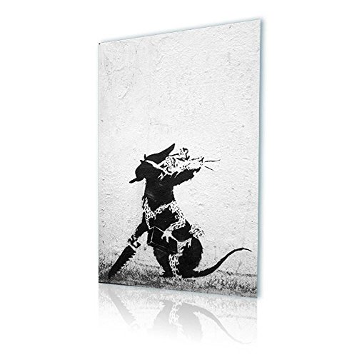 "Alonline Art - Rat With Dollar Eyes And Jigsaw Banksy PRINT On CANVAS (Synthetic, UNFRAMED Unmounted) 24""x36"" - 61x91cm Wall Decor Oil Paints Oil Painting Print Canvas For Kitchen Canvas For Bedroom"