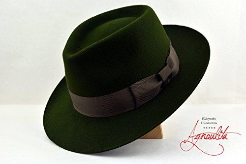 The Loden - Loden Green Rabbit Fur Felt Handmade Teardrop Fedora Hat - Medium Brim - Men Women by HNC-HatWorks