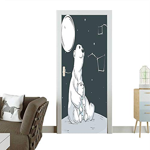 Door Sticker Wall Decals Sitting Mother Polar Bear and Her Cute Son Looking on Stars Illustration Black Easy to Peel and StickW23.6 x H78.7 INCH -