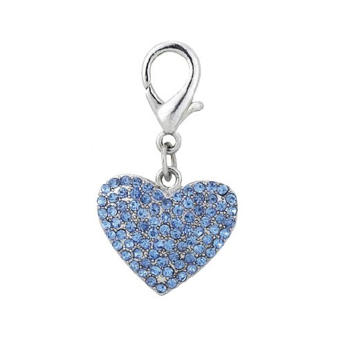 PETFAVORITES™ Couture Designer Fancy Bling Rhinestone Heart Pet Cat Dog Necklace Collar Charm Pendant Jewelry (Blue)