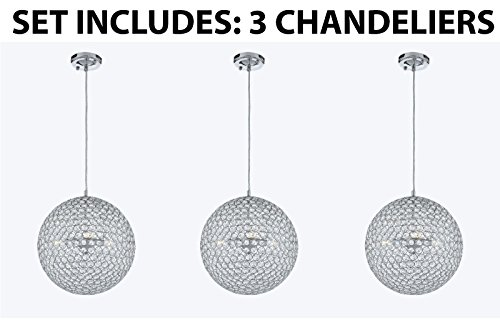 Set of 3 Modern Contemporary Crystal Pendant Chandelier Lighting H 14″ X W 14″ – Good for Kitchen / Island / Dining Room !