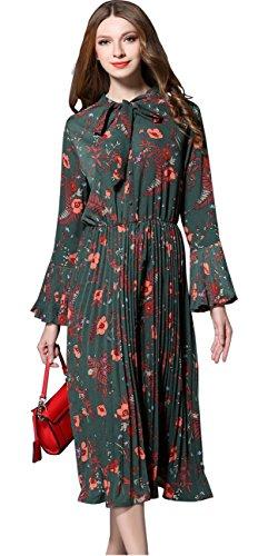 Shineflow Womens Vintage Floral Printed Lotus Sleeves Elastic Waist Pleated Swing Cocktail Party Midi Dress