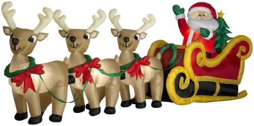 Beautiful Amazon.com: Huge 16 Foot Santa, Sleigh U0026 3 Reindeer Airblown Yard Display:  Garden U0026 Outdoor