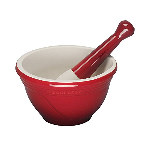 Le Creuset Stoneware 10-Ounce Mortar and Pestle, Cerise (Cherry Red)