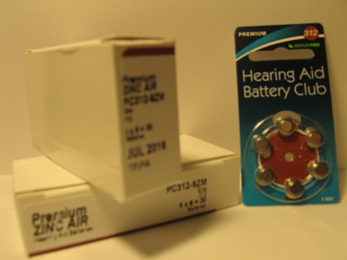 (60) pack of size 312 Hearing Aid Batteries - Mercury Free
