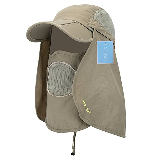 UNIQME Sun Cap Fishing Hat For Men Women, UPF 50+ Protection Quick-drying With Removable Neck Flap & Face Cover Mask, Sun Hat for Gardening, Hiking, Camping, Boating, Outdoor Sports … (Khaki 2)