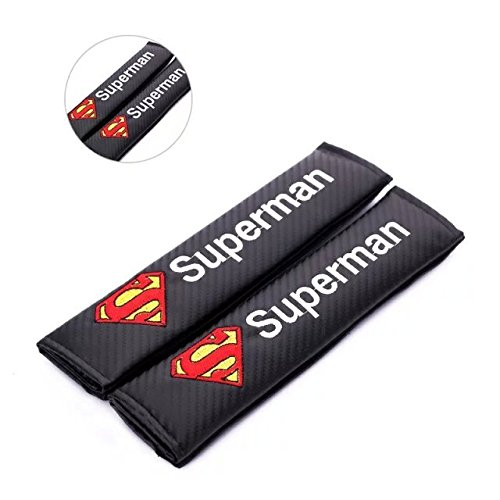 Amooca 2pcs Carbon Fiber Embroidery Car Seat Belt Superman Logo Cushions Shoulder Pad Free Shipping (Superman Seat Covers For Cars compare prices)