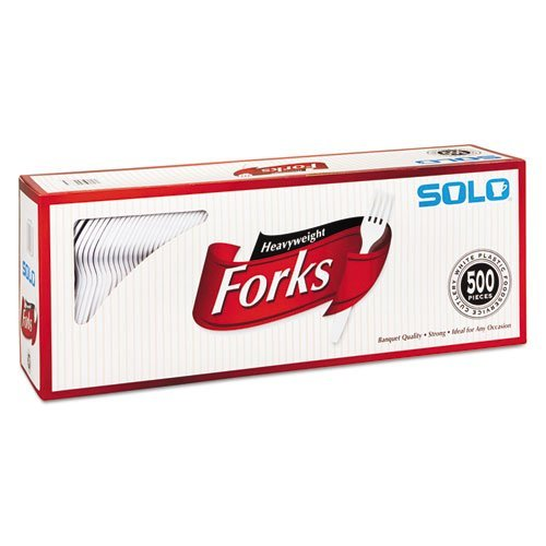 SOLO No No Model Cup Company Heavyweight Plastic Cutlery, Forks, White, 6.41 in, 500/Carton, 500 Pieces, by SOLO
