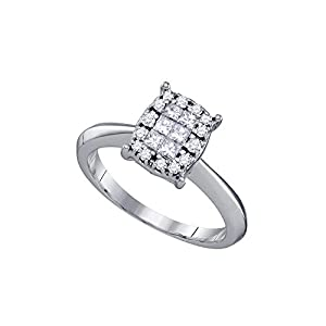 14kt White Gold Womens Princess Diamond Cluster Bridal Wedding Engagement Ring 3/8 Cttw