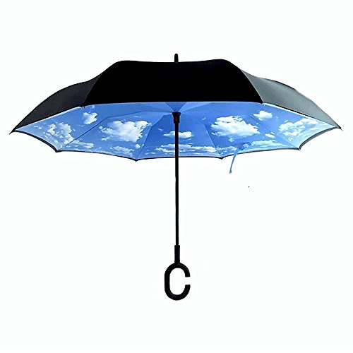 Inverted Umbrella, Glodeals Creative Double Layer Inside Out Reverse Folding Umbrella Self Standing for Car In Rain Protection (Blue Sky)