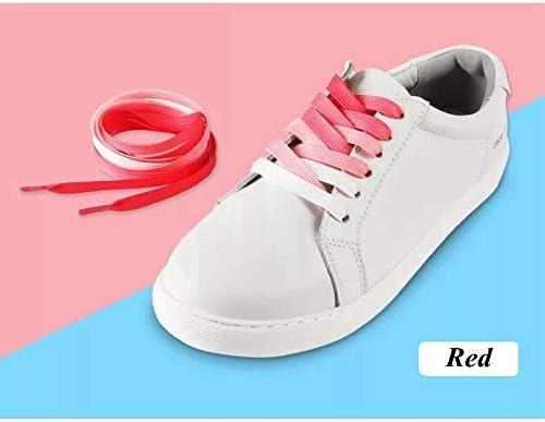 XJYWJ 1Pairカラフルなシルクの靴ひもキャンディグラデーションパーティーキャンプブーツ靴ひもキャンバスストリングスキャンプシューズは虹BC-2を成長レース (Color : Red, Size : 120CM)