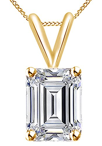 Jewel Zone US 1.50 Ct Emerald Cut White Cubic Zirconia Solitaire Pendant Necklace In 10K Solid Gold ()