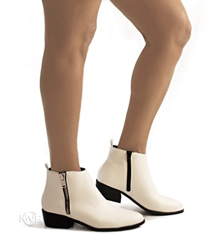 Toe Cute Pointed Zip White Heel up on Classified Pu s Side Womens Boot Low Ankle City MVE Shoes Slip wXqFx7Ya