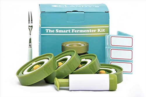 Price comparison product image Smart Fermenting Lids Kit : Easy Fermenter In Wide Mouth Jars ,  Ideal for Sauerkraut,  Kimchi,  Pickles Or Probiotic Foods. 4 Lids,  Extractor Pump ,  Fork Pickles + 12 Jar Labels! User Guide Included!
