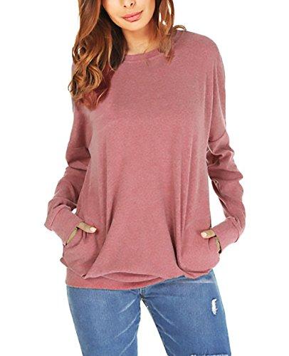 Chic Maniche Eleganti Rotondo Sciolto Prodotto Tops Tasche Bluse Moda Camicetta Collo A Shirts Lunghe Magliette Libero Monocromo con Tempo Ragazza Autunno Rosso Camicia Donna Plus Primaverile qzHwF8
