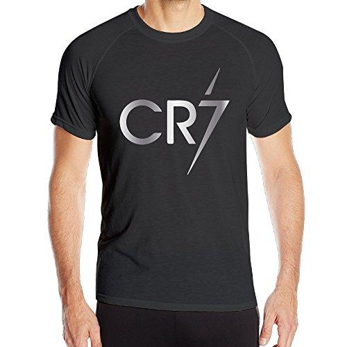Cristiano Ronaldo Cr7 Logo Platinum Style Mens Black Gym Quick Dry T Shirt