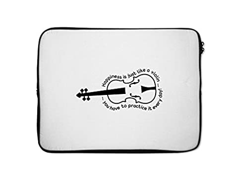 Happiness Is Just Like A Violin You Have To Practice It Every Day Laptop Case 7 In (Violin Practice Notebook)