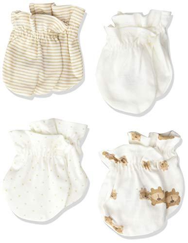 Gerber Unisex-Baby Newborn 4 Pack Mittens Bear, brown bear friends, 0-3 Months