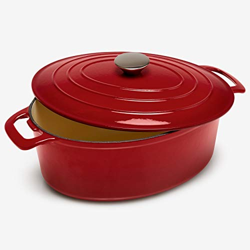 Brylanehome 6-Lt. Cast Iron Enameled Oval Casserole - Red