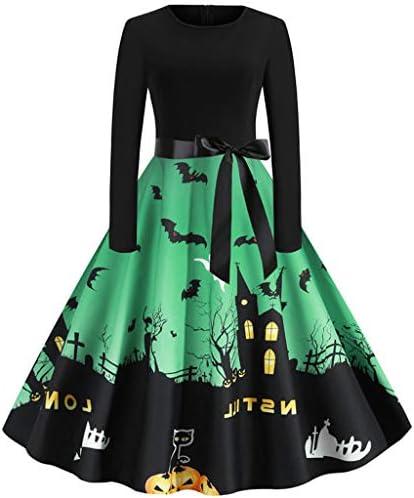 jin&Co Women Swing Dress Halloween Costume Vintage Pumpkin Printed Prom Party Dress Cocktail Dress Ball Gown