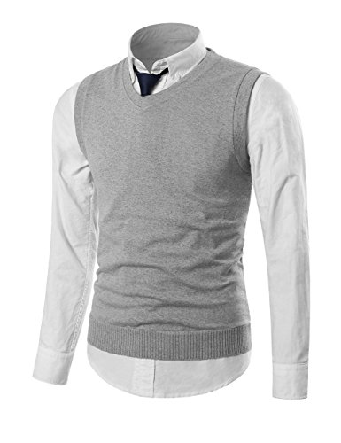 MIEDEON Mens Casual Slim Fit Knit Vest Sweater Light Grey