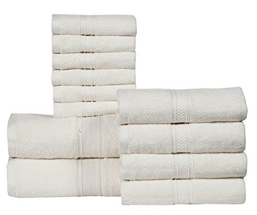Review 12 PIECE- 600 GSM Ivory Cotton Bath Towels Set – Hotel Spa Towels Set- 2 Bath Towels, 4 Hand Towels, 6 Washcloths-Super Absorbent Soft Cotton Towel set- Hotel Spa Ivory Towel set-100% Cotton Towel Set