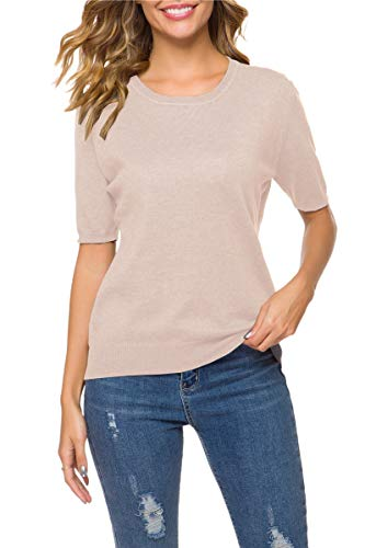 DAIMIDY Women's Short Sleeve Knitted Cashmere T Shirt Blouse Top, Camel, Tag 5XL = US XL (Beige Cashmere Blend)