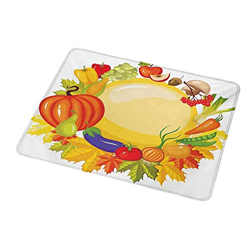 Mouse Pad Unique Custom Harvest,Garden Products from Whole Year Mushroom Bell Peppers Carrot Leek Healthy Life,Mousepad Great for Laptop,Computer 9.8