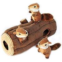 CHOUREN Zippy Paws - Woodland Friends Burrow, Interactive Squeaky Hide and Seek Plush Dog Toy - Chipmunks 'n Log