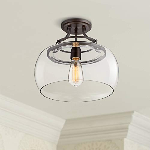 "Charleston Rustic Farmhouse Ceiling Light Semi Flush Mount Fixture LED Edison Bronze 13 1/2"" Wide Clear Glass Shade for Bedroom Kitchen Living Room Hallway Bathroom Schoolhouse - Franklin Iron Works"